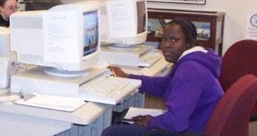 Patron at computer